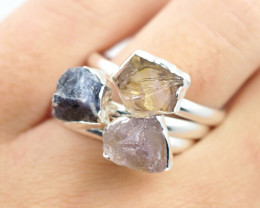 Three Raw   Gemstone in electroformed SilverPlated Ring BR74