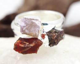 Three Raw   Gemstone in electroformed SilverPlated Ring BR75