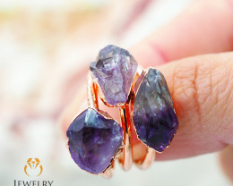 Three Amethyst Raw Beautiful terminated Gemstone Copper Ring BR 77
