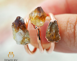 Three Citrine Raw Beautiful terminated Gemstone Copper Ring BR 80