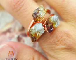 Three Citrine Raw Beautiful terminated Gemstone Copper Ring BR 81