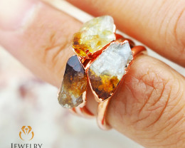 Three Citrine Raw Beautiful terminated Gemstone Copper Ring BR 82