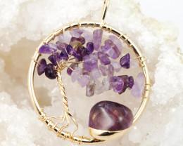 Healing Amethyst Tree of Life pendant Br 120