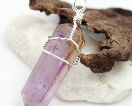 Healing Amethyst Terminated Point wire wrap pendant BR 125