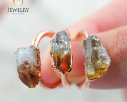 3 Citrine Raw Beautiful  terminated Gemstone Copper Ring BR 84
