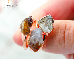 3 Citrine Raw Beautiful terminated Gemstone Copper Ring BR 85
