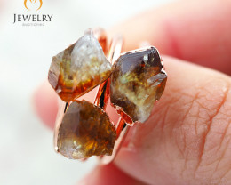 3 Citrine Raw Beautiful terminated Gemstone Copper Ring BR 86