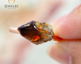 Citrine Raw Beautiful terminated Gemstone Copper Ring BR 88