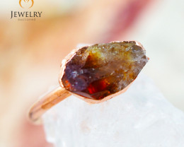 Citrine Raw Beautiful terminated Gemstone Copper Ring BR 90