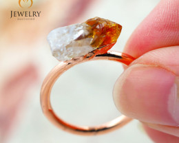 Citrine Raw Beautiful terminated Gemstone Copper Ring BR 91