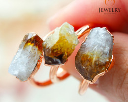 3 Citrine Raw Beautiful terminated Gemstone Copper Ring BR 92
