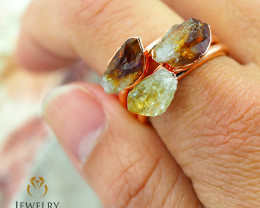 3 Citrine Raw Beautiful terminated Gemstone Copper Ring BR 94