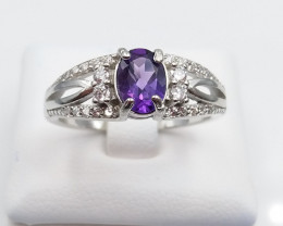 AMETHYST NATURAL STONE WITH 925 SILVER RING J#3