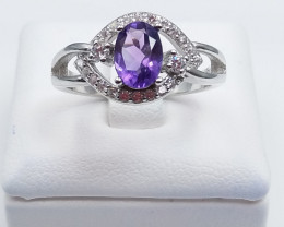 AMETHYST NATURAL STONE WITH 925 SILVER RING I#6