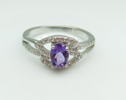AMETHYST NATURAL STONE WITH 925 SILVER RING I#8