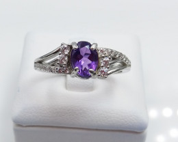 AMETHYST NATURAL STONE WITH 925 SILVER RING I#3
