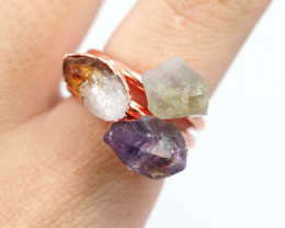 3 Raw Beautiful  terminated Gemstone Copper Ring BR 135