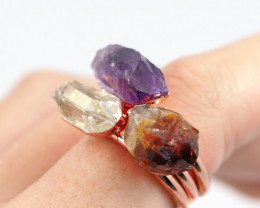 3 Raw Beautiful  terminated Gemstone Copper Ring BR 136