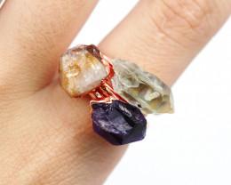3 Raw Beautiful  terminated Gemstone Copper Ring BR 138