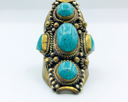 143.90 Crt Turquoise Brass Materail Nepali Ring