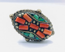 79.95 Crt Turquoise & Coral Brass Materail Napali Ring