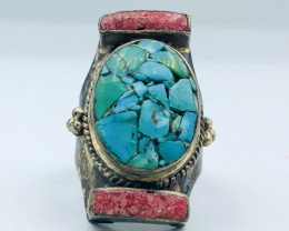 67.25 Crt Turquoise & Coral Brass Materail Nepali Ring