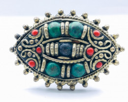 127.00 Crt Turquoise And Lapis & Coral Brass Materail Ring