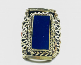 122.80 Crt Turquoise & Coral Brass Materail Nepali Ring