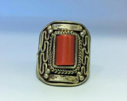 83.95 Crt Coral Brass Materail Nepali Ring