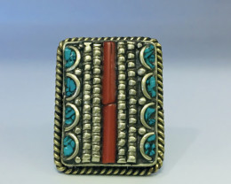 112.10 Crt Coral & Turquoise Brass Materail Nepali Ring