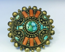 162.80 Crt Turquoise & Coral Brass Materail Nepali Ring