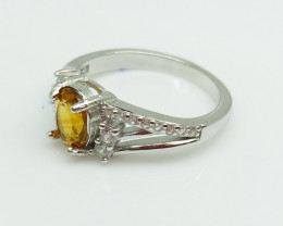CITRIN NATURAL STONE WITH  925 SILVER RING I#22