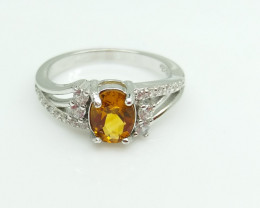 CITRIN NATURAL STONE WITH SILVER RING I#24