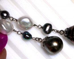 37.16CTS - WHITE  PEARL AND BLACK  PEARL TAHITIAN EARRINGS  SILVER  SG-2962
