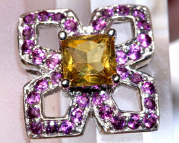 15.51 CTS -CITRINE AND PINK SAPPHIRE SILVER PENDANT  SG-2986