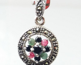 RUBY EMERALD SAPPHIRE MIXED 925 SILVER PENDANT K#3