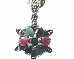RUBY EMERALD SAPPHIRE MIXED 925 SILVER PENDANT K#4
