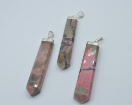 258.90 CT NATURAL RHODONITE GEMSTONE PENDENT WITH SILVER  T