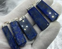 Natural Lapis Lazuli 5 Pcs 925 Silver Pendants