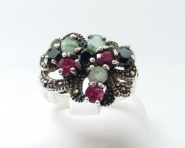 RUBY EMERALD SAPPHIRE MIXED 925 SILVER RING L#9