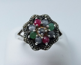 RUBY EMERALD SAPPHIRE MIXED 925 SILVER RING L#11
