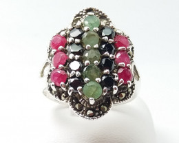 RUBY EMERALD SAPPHIRE MIXED 925 SILVER RING L#12