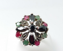 RUBY EMERALD SAPPHIRE MIXED 925 SILVER RING L#14