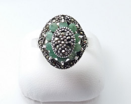 RUBY EMERALD SAPPHIRE MIXED 925 SILVER RING L#20