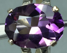 Natural Amethyst 5.30 cts Transparent  (custom cutting) Handmade 925 Sterli
