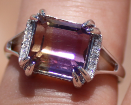 Ametrine 4.28ct,White Gold,Solid 925 Sterling Silver Ring,Ring Size 7