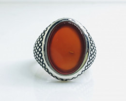 49.10 Crt Natural Red Agate 925 Siver Ring
