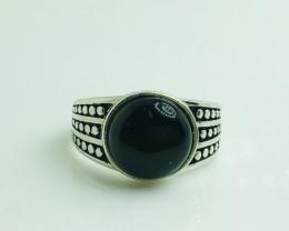 23.00 Crt Natural Black Onyx 925 Siver Ring