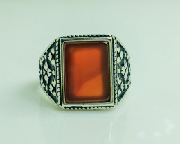 47.80 Crt Natural Red Agate 925 Siver Ring