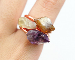 3 Raw Beautiful  terminated Gemstone Copper Ring BR 171